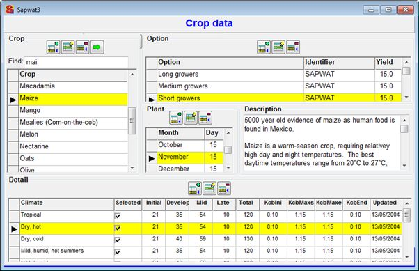 SAPWAT Crop Data Screenshot Crop editor